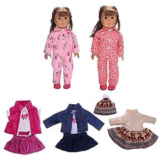 Beetest 5 Set Abiti Stile Assortiti Carino Vestito Pieghettato Gonne Pigiama Vestiti per Accessori da 18 Pollici American Girl Doll