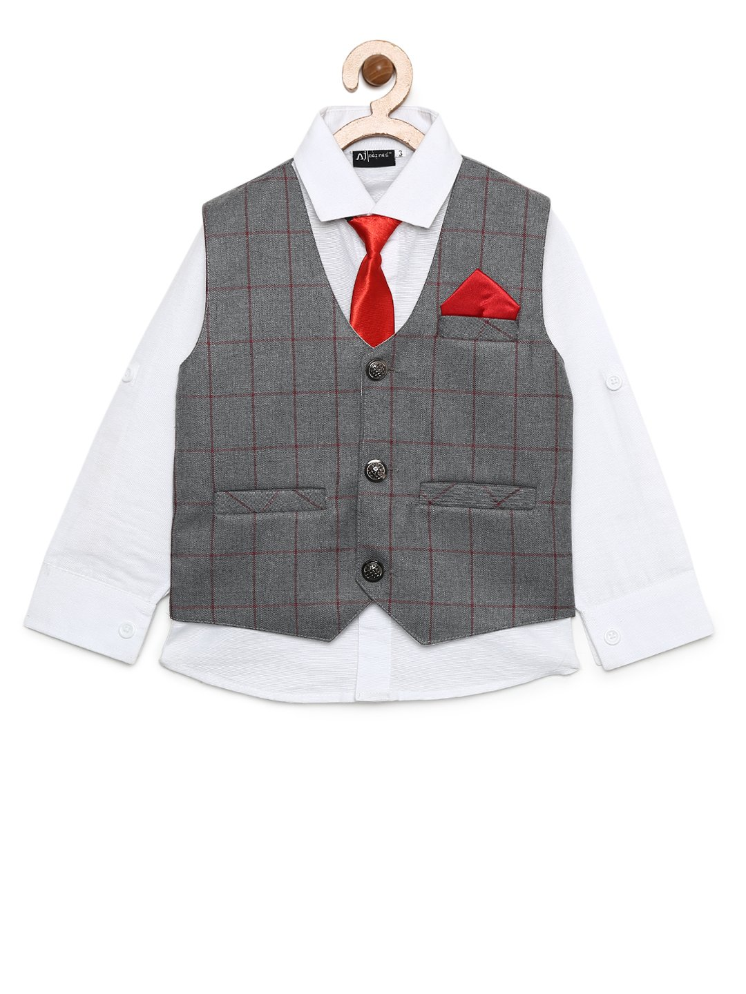 AJ Dezines Kids Indian wear Bollywood Style Shirt and Waistcoat Clothing Set for Boys (201-GREY-3)
