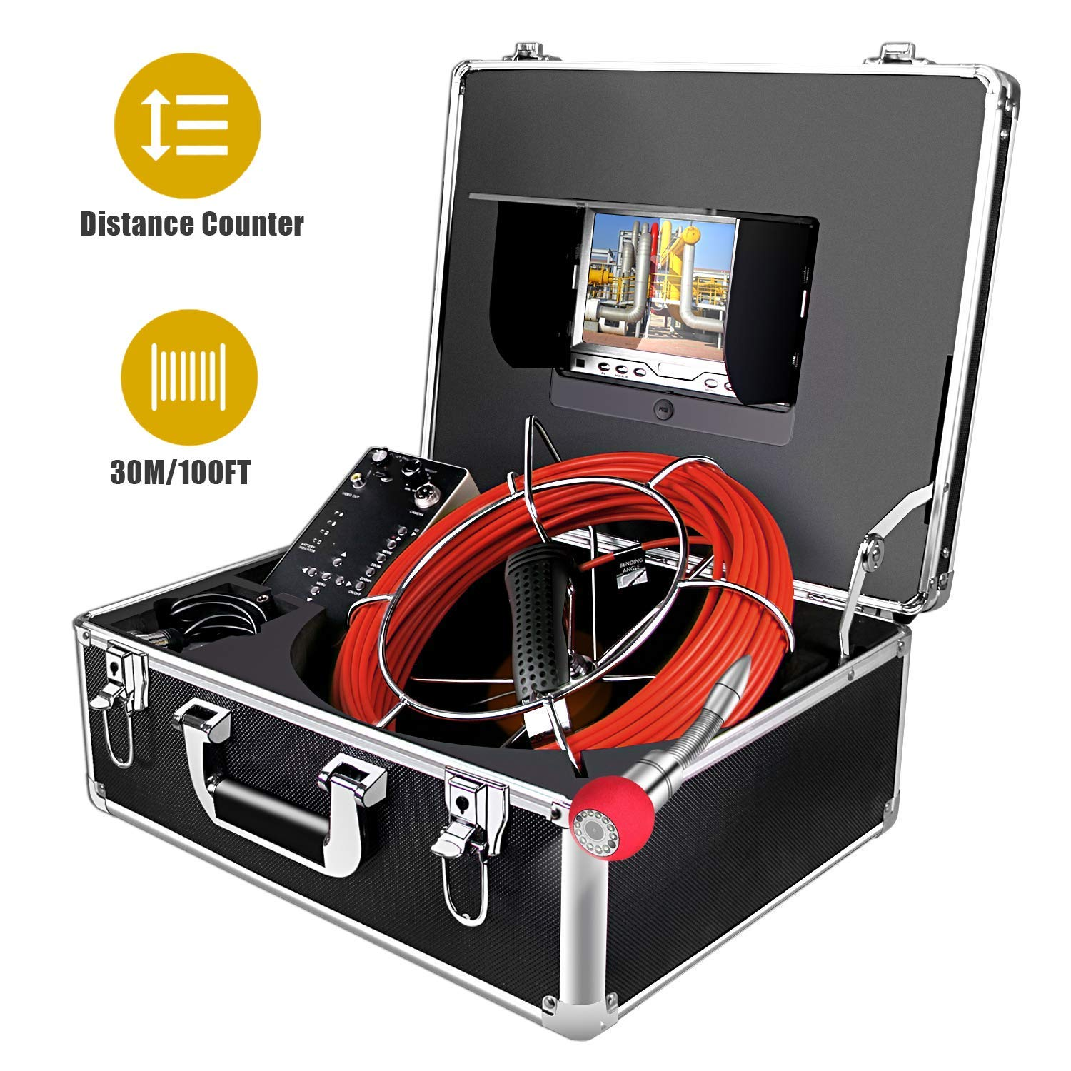 Sewer Camera,Inspection Camera 100ft/30M Cable with Distance Counter Industrial Endoscope DVR Video Record 7'' TFT Monitor 1000TVL Sony CCD Duct HVAC Borescope Waterproof IP68 Camera (7D1-30M-DVR-DC) by Aukfa