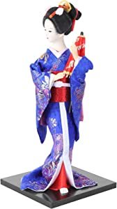 VORCOOL Japanese Geisha Kimono Doll Asian Kabuki Oriental Collectible Geisha Figurine Home Decoration Gift Blue
