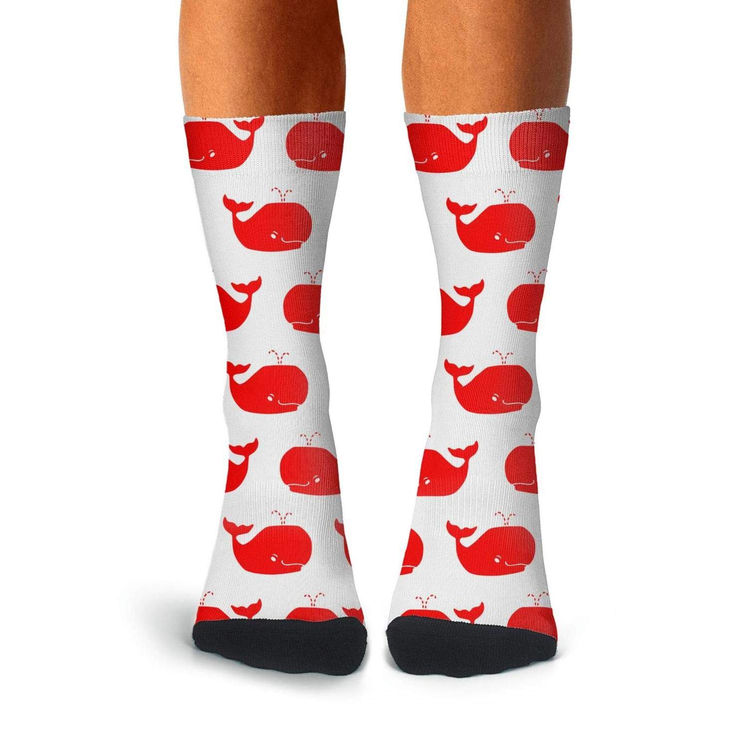 Mens Athletic Cushion Crew Sock Red And White Whales Whale Repeat Long Sock Casual