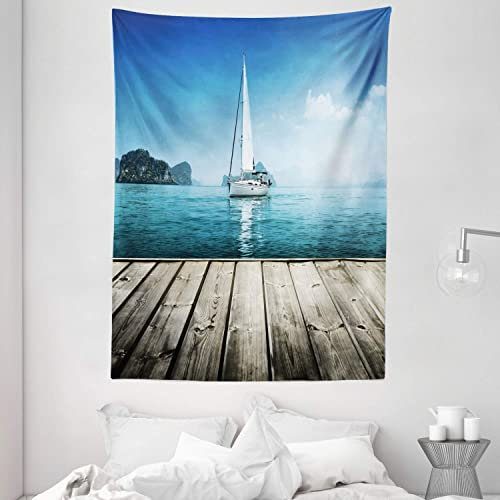 Ambesonne Nautical Tapestry, Yacht from Wooden Deck Horizon Serenity Seascape Leisure Aquatic Coastal Theme, Wall Hanging for Bedroom Living Room Dorm, 60 X 80 , Brown Blue