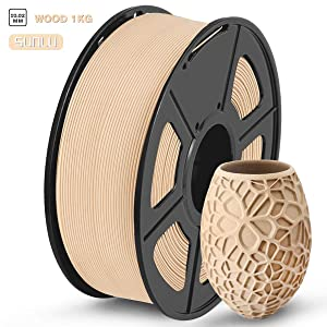 SUNLU Wood 3D Printer Filament, Wood PLA Filament 1.75mm 1kg Spool, Dimensional Accuracy +/- 0.02 mm, Real Wood Filament