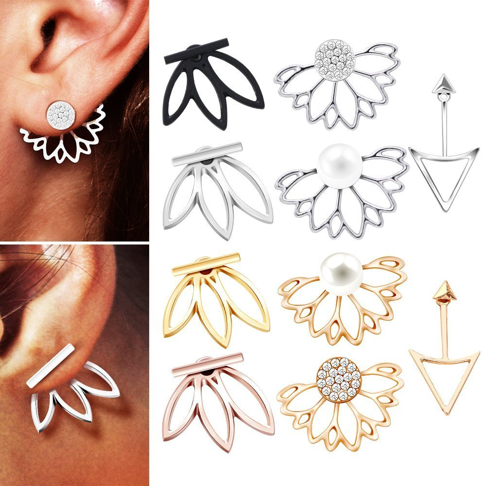 10 pairs ear jacket stud lotus flower earrings for women and girls set for sansitive ears simple chic jewelry Hefanny B07CR3DJB3_US