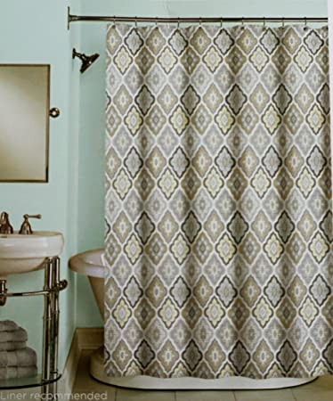 Peri Fabric Shower Curtain Charcoal Beige Light Gray Yellow Medallions On White Lilian Tile