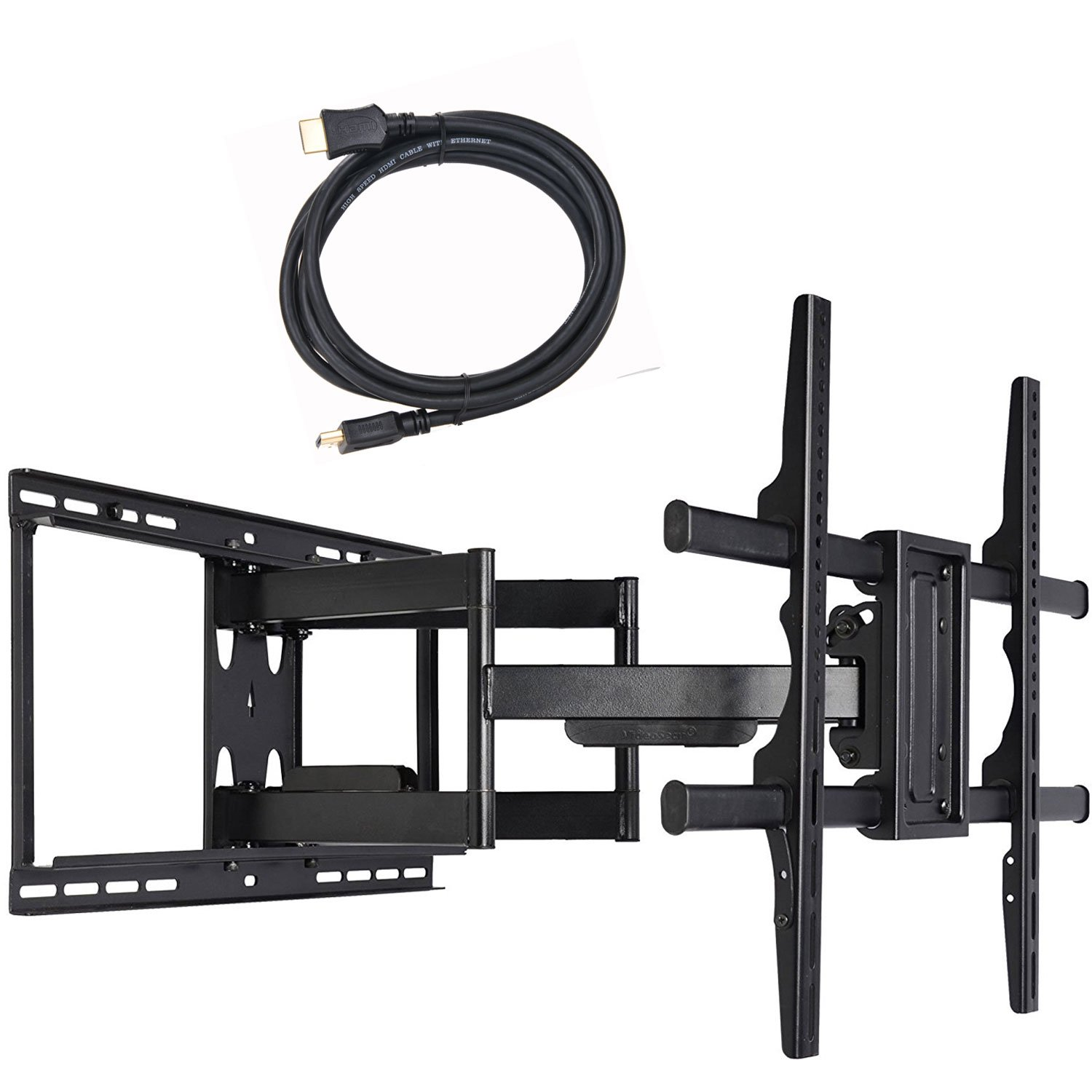VideoSecu 24 inch Extension Full Motion Swivel Articulating TV Wall Mount Bracket for Most 40''-90'' LED LCD OLED Plasma Flat Screen TV with VESA 684x400,600x400,400x400,200x200mm MW480B BCL