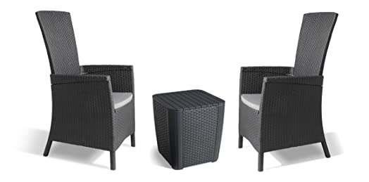 Allibert by Keter Vermont Rattan Reclining Duo Coffee Outdoor Garden Furniture Set - Graphite with Grey  sc 1 st  Amazon UK & Allibert by Keter Vermont Rattan Reclining Duo Coffee Outdoor ... islam-shia.org