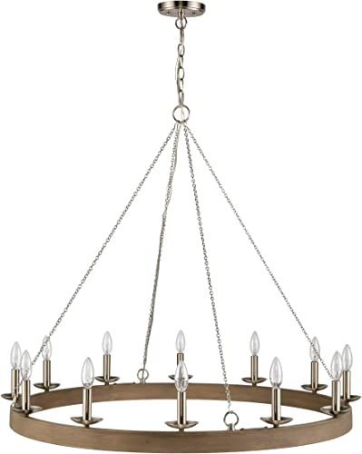 WILDSOUL 201012FGWSN 12-Light Wagon Wheel Round Chandelier Candle Style, Modern Farmhouse D cor 38-1 4 Industrial Circular Light Ring Shaped, LED Compatible, Brushed Nickel and Wood Style Finish