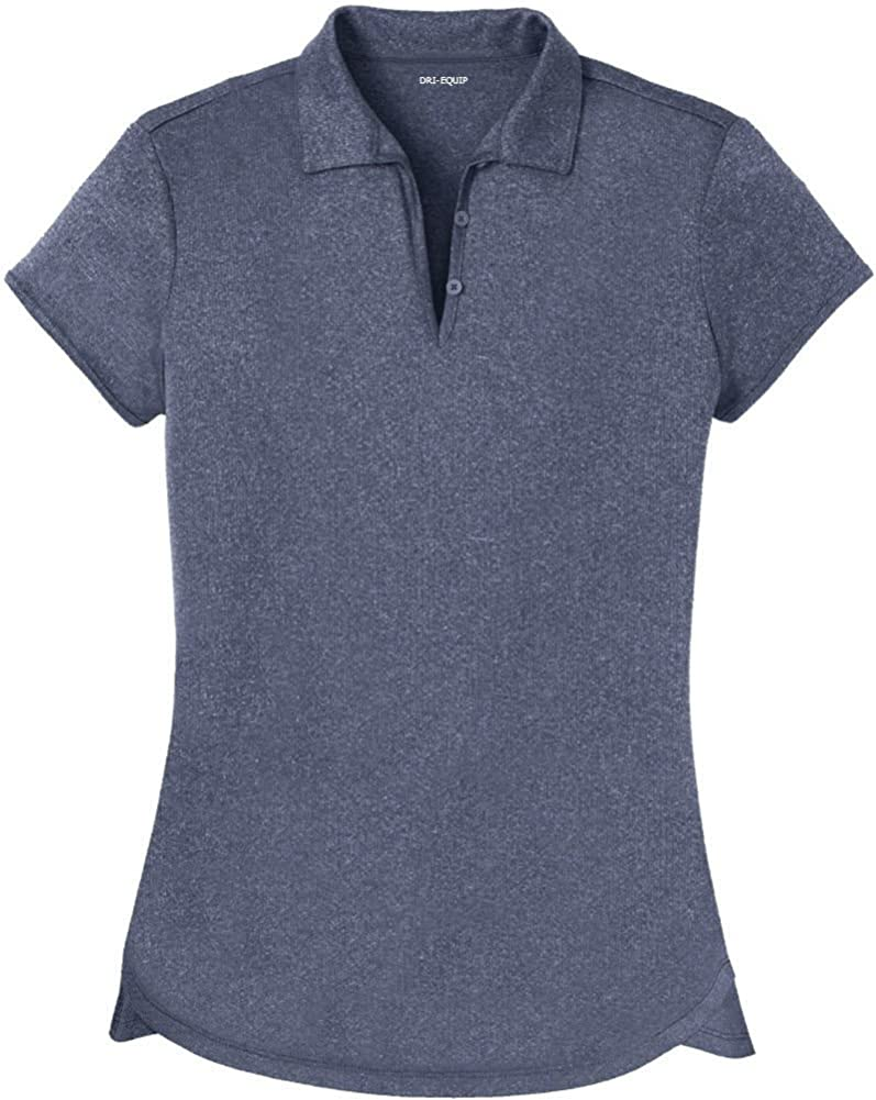 DRI-Equip Ladies Moisture Wicking Heather Golf Polos in XS-4XL: Clothing