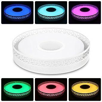Smart LED Deckenleuchte Dimmbar Farbwechsel Mit Bluetooth Lautsprecher APP Fernbedienung Fr Schlafzimmer Wohnzimmer Smartphone