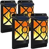 Bebrant Solar Wall Lights Outdoor Flickering Dancing Flames Lights with Dark Sensor Auto On/Off Waterproof Landscape Lighting