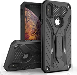 ZIZO Static Series for iPhone Xs Max with Built in Kickstand, Impact Resistant and Military Grade (Black & Black)