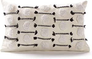 Ailsan Cushion Cover for Chair Super Soft Handmade Decorative Pillow Cases,Woven Cotton Cream Tufted Black Geometric Tassel Pillow Case for Couch Chairs Sofa Bedding Office Farmhouse