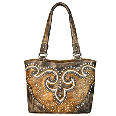 04bbb0a7f Amazon.com: MW628-8014 Montana West Bling Bling Western Collection Tote Bag  Handbag (Brown): Clothing