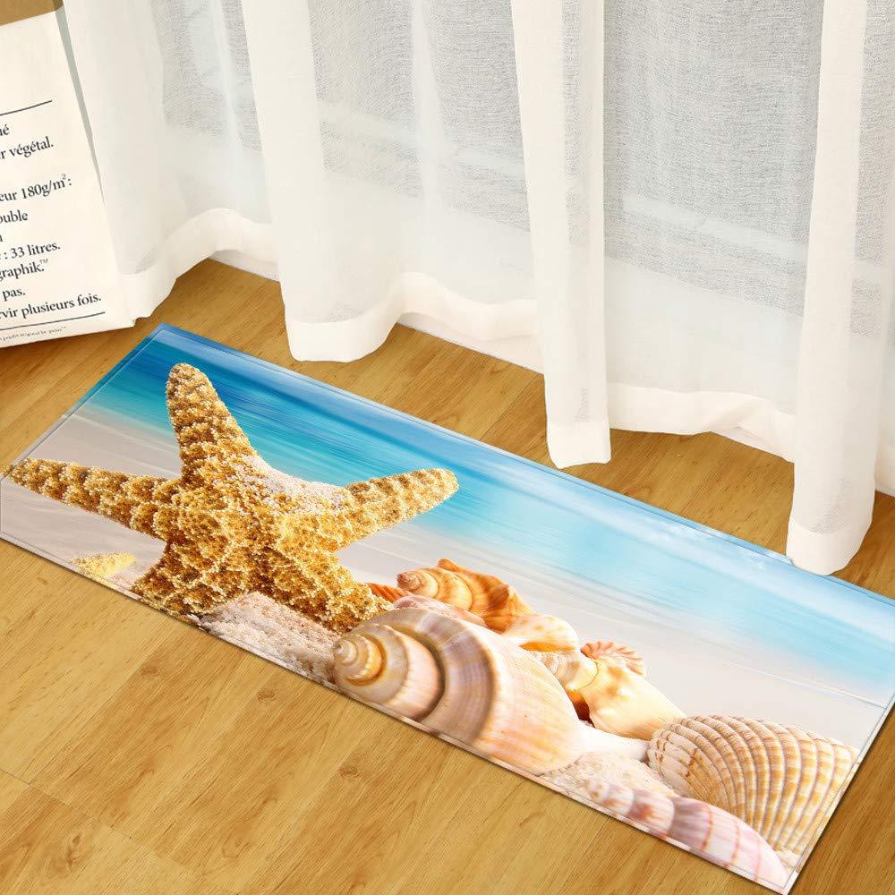 WGOO Carpet Tappeti Cucina Lavabile Antiscivolo Design Tappeto da Cucina,Bellissimo Tappeto da Bagno con Stampa di Conchiglie di Stelle Marine da 7MM di Spessore,40X120CM
