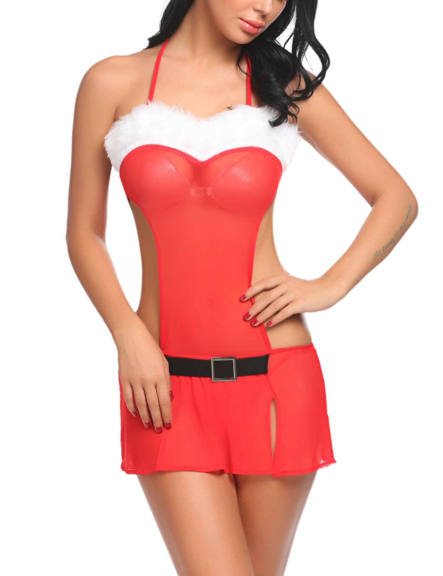 Avidlove Women Sexy Christmas Lingerie Set Red Santa Teddy Mini Dress Red M
