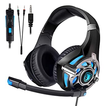 Amazon Com Sades Sa822 Gaming Headset Over Ear Gaming Headphone For Ps4 Xbox One Pc Computer Mobile Phone Black Blue Video Games