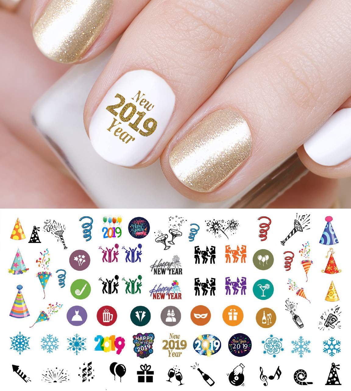 Amazon Com 2019 Happy New Years Holiday Nail Art Waterslide Decals