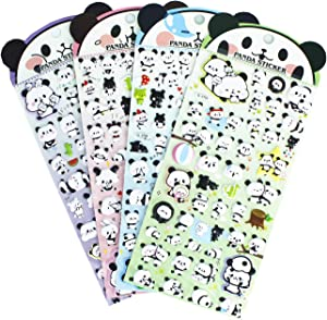 HighMount Panda Stickers 4 Sheets with Pandas Faces Stickers and Bamboo Decals for Kids Scarpbooking Crafts - 200 Stickers