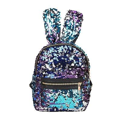 Shoulder Bag For Women And Girls With Cute Rabbit Ears Backpack Sequins Shoulder Bag Schoolbag Travel Day pack(Purple Blue) | Kids' Backpacks