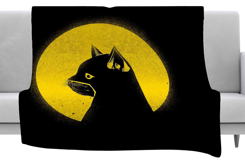 Kess InHouse BarmalisiRTB Hero Cat Black Yellow Digital Throw 60 x 40 Fleece Blankets