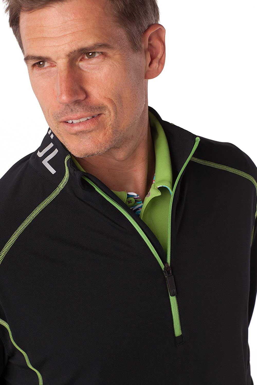 IBKUL Mens Solid Mock Neck Half Zip Pullover