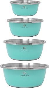 Gourmet Home Products Steel Mixing Bowls, 4-pc set, Aqua