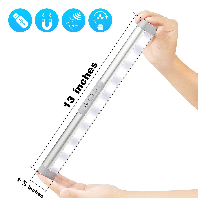 Closet Light Motion Sensor Light Bar, USB Rechargeable Portable Wireless Light, Magnetic Stick-on Anywhere LED Night Light Bar,Cordless Cabinet Lights for Shelf,Counter,Wardrobe
