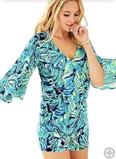 50fcab00f454 Lilly Pulitzer Viviana Romper Armadilly Dally Bright Navy Blue Green