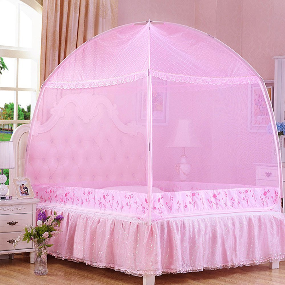 CdyBox Princess Mosquito Net Bed Tent Canopy Curtains Netting with Stand Fits Twin Full Queen Bedding(Full/Queen,Pink)