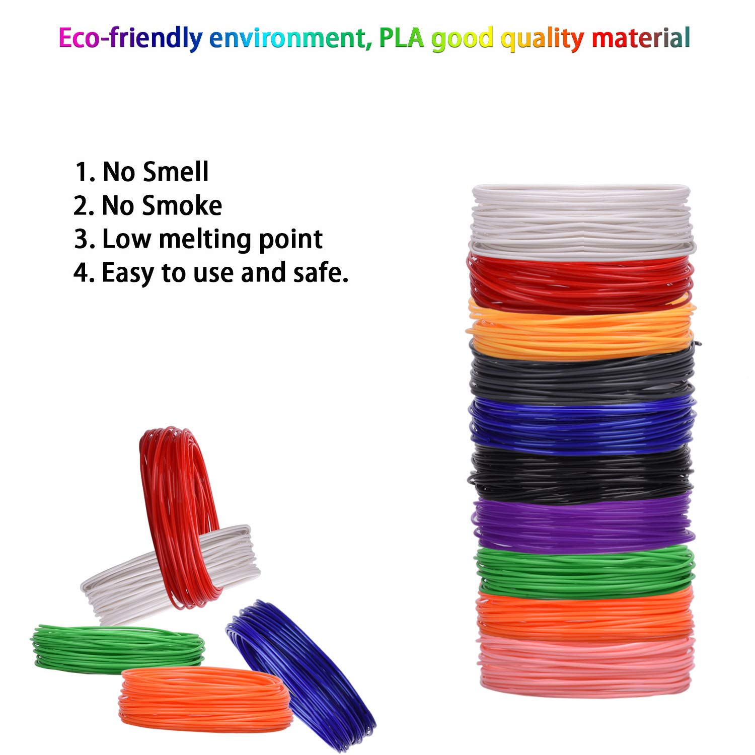 3D Printing Pen Filament Refills PLA Filament 1.75mm Total 320 Feet 3D Pen Filament for Kids No-Toxic Odorless PLA 3D Pen Filament Ananteke 3D Printing pen AN-20 PLA US 10 Color Each 32 feet