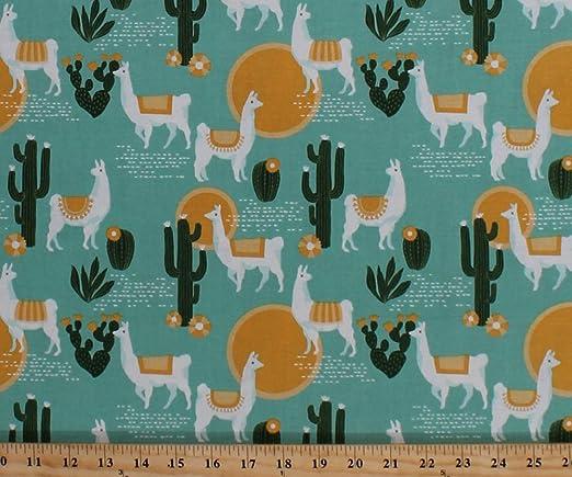 Llamas Fabric 100/% Cotton Fabric Fabric By The Yard Southwestern Fabric Cactus