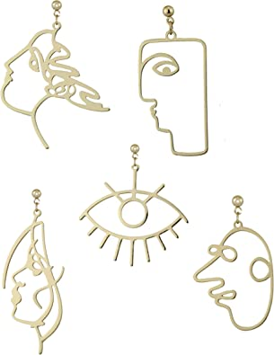 Amazon Com 5 Pairs Modern Abstract Art Face Earrings Set Geometric Human Face Fashion Design Dangle Earrings Jewelry