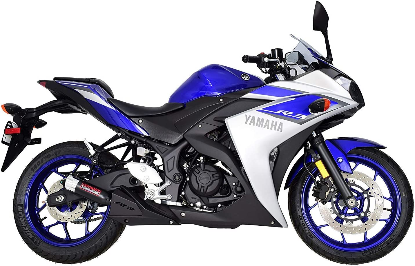 Coffmans Shorty Exhaust with Polished Tip and Exhaust Guard 2015-2019 Yamaha R3 YZF-R3