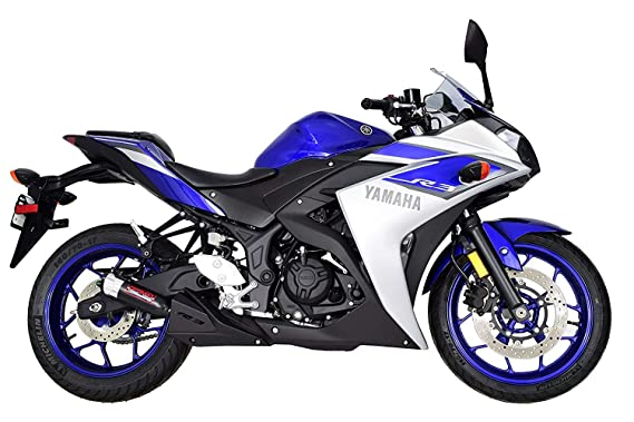 Yamaha R3 YZF-R3 (2015-2019) Coffmans Shorty Exhaust with Black Tip and Exhaust Guard