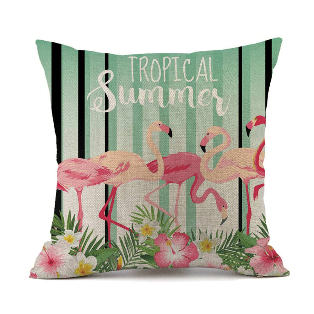 Selcet Pack of 2 Tropical Summer Flamingos Pineapples Flower Leaves Pattern Decorative Throw Pillow Cases Cushion Covers for Couch Sofa Car Square 18 ...