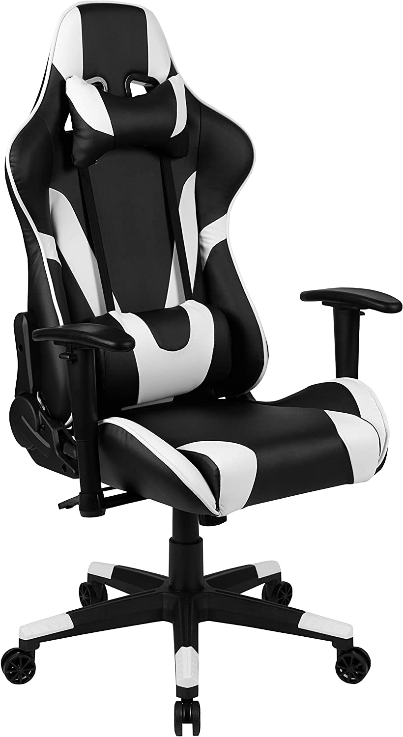 Flash Furniture X20 Gaming Chair Racing Office Ergonomic Computer PC Adjustable Swivel Chair with Fully Reclining Back in Black LeatherSoft