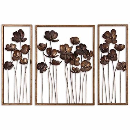 uttermost wall decor large wooden wall pno 12785 uttermost wall decor sets antique bronze and gold leaf metal amazoncom
