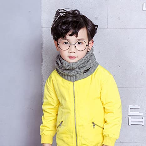 DOEUS Autumn Winter Warm Kids Girls Boys Collar Scarf Cotton O Ring Neck Scarves Neckerchief for Christmas Thanksgiving New Year Gift for Child 2-13 Years