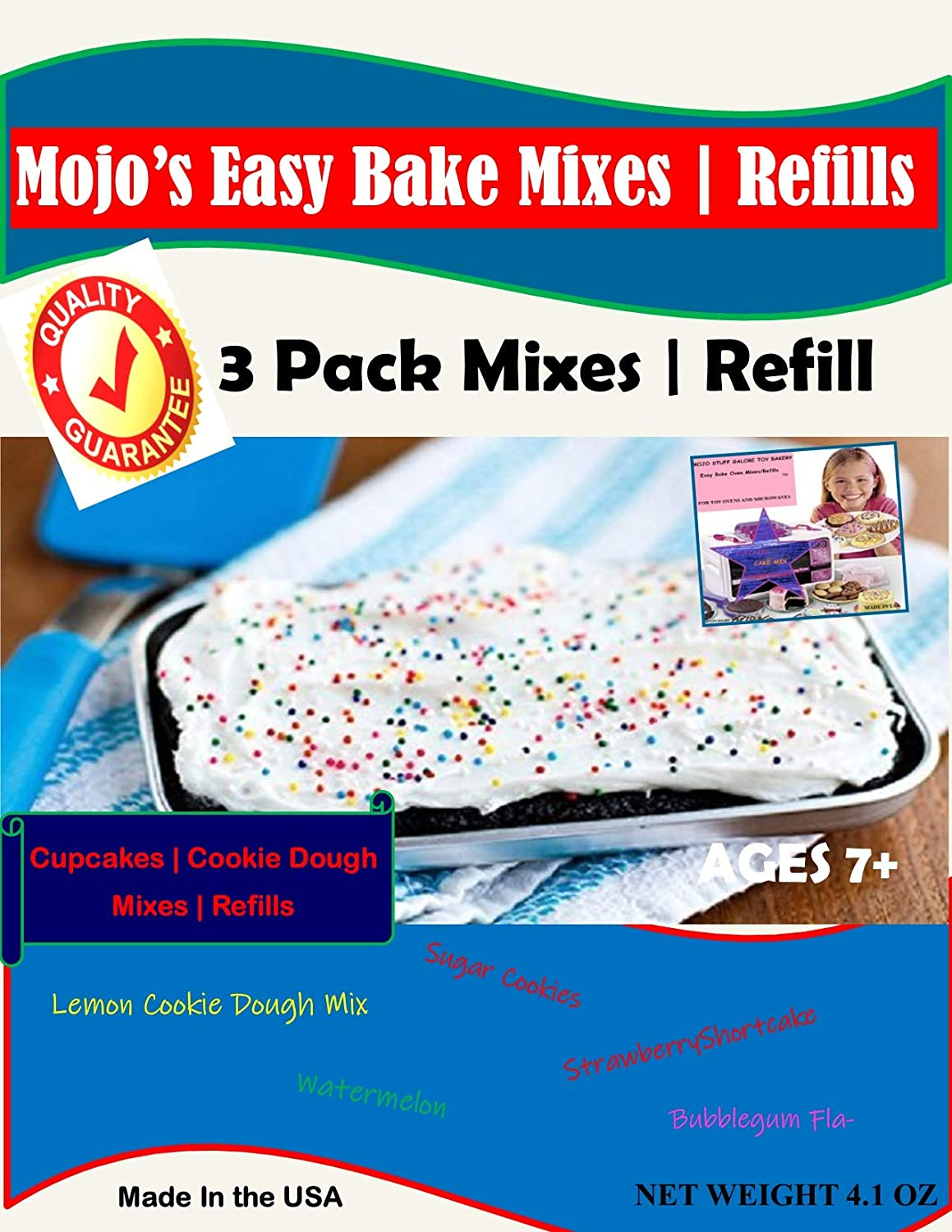 Mojo Stuff Galore Easy Bake Oven Mixes & Refill Cake | Cupcake | Cookies Refill 3 Pack