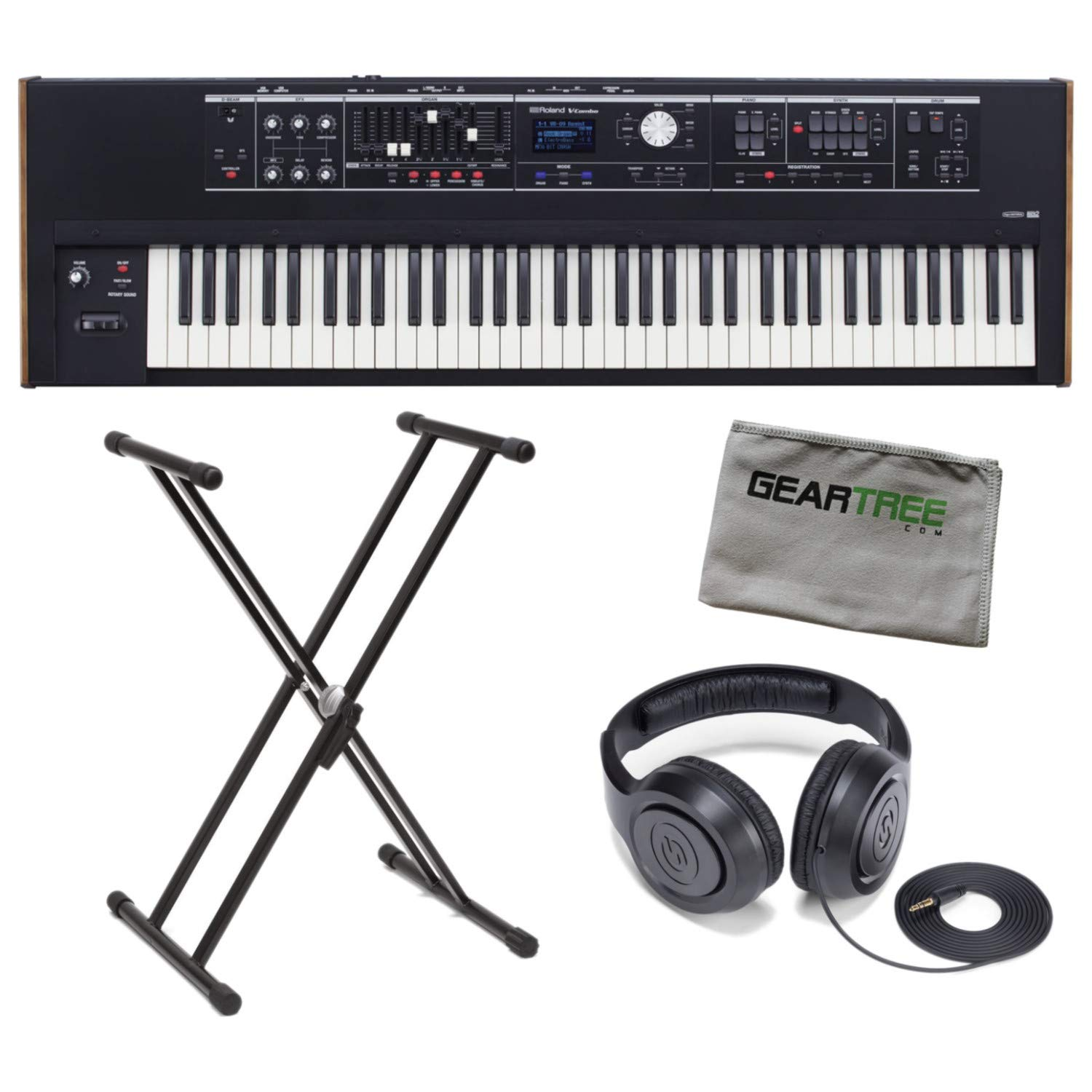 Roland VR-730 V-Combo 73-Key Waterfall Action Keyboard Bundle w/Headphones, Stan by Roland