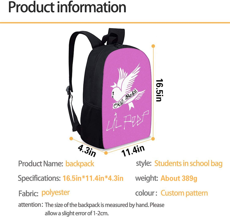 MOSDELU Lil Peep Cool Backpack 3D Printed Teens School Book Bag Casual Travel Bag for Boys Girls