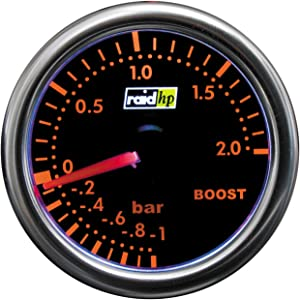 Raid HP Night Flight 660250 Turbo Boost Gauge Display Add-On Instrument/Red
