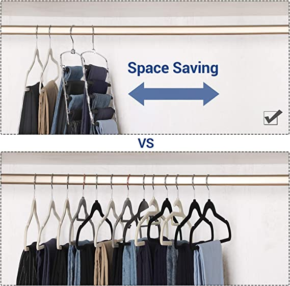 SONGMICS 3 Pack Pants Hangers, Space-Saving Multi-Bar Metal Pants Hangers, Stable with Non-Slip Padding, Swing Arms for 5 Jeans Each, Suit Pants, ...