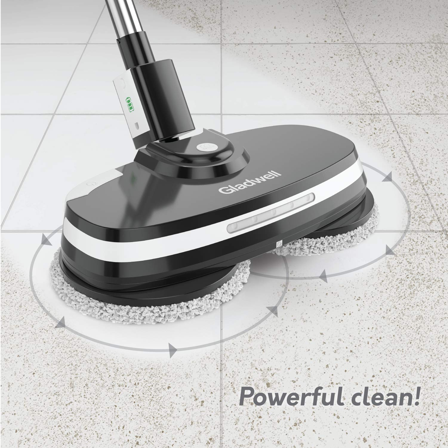 Gladwell Cordless Electric Mop - 3 In 1 Spinner, Scrubber, Waxer Quiet, Powerful Cleaner Spin Scrubber & Buffer, Polisher For Hard wood, Tile, Vinyl, Marble, Laminate Floor - 1 Year Warranty - Black by Gladwell (Image #3)