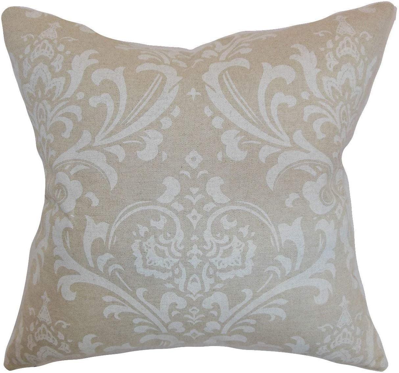 The Pillow Collection Olavarria Damask Black White Down Filled Throw Pillow