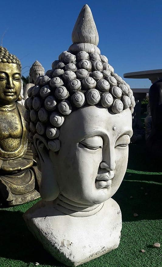 DEGARDEN AnaParra Figura Cabeza Buda Razón para el jardín Decorativa 61cm. hormigón Color Ceniza: Amazon.es: Jardín