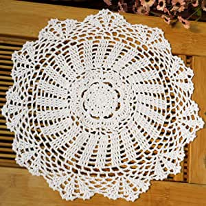 kilofly Crochet Cotton Lace Table Placemats Doilies Value Pack, 4pc, Daisy, White, 13.7 inch
