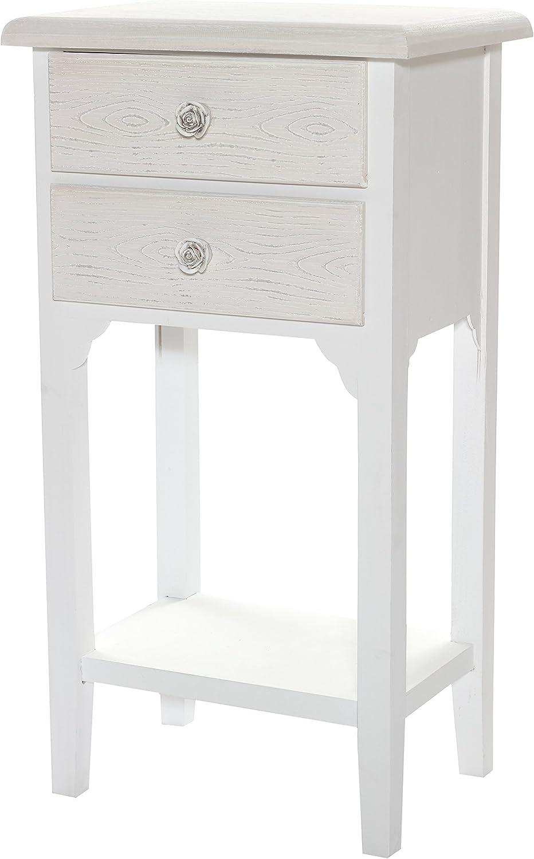 EUGAD Comodino Shabby Chic Comodino Bianco Moderno con Cassetto Tavolino Laterale da Divano Salvaspazio Multiuso 0107ZZ