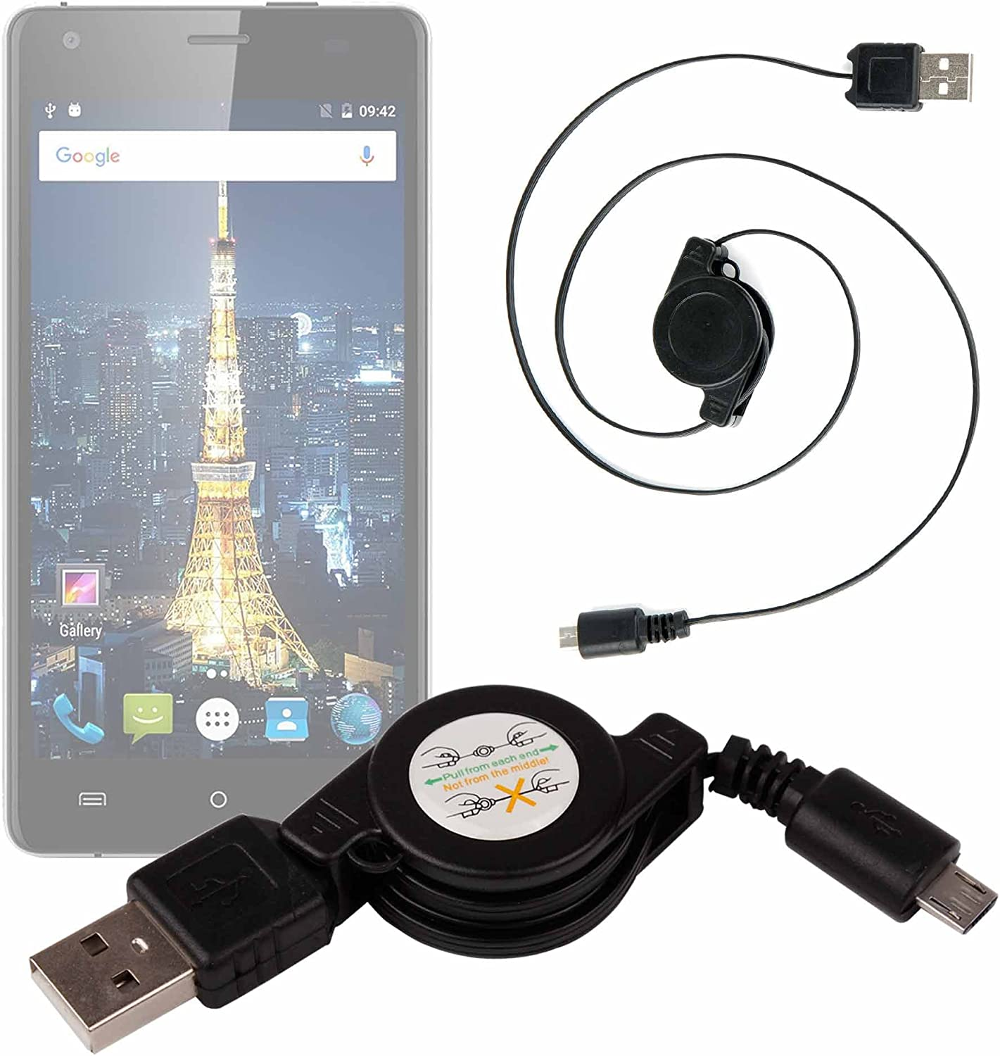 DURAGADGET Cable MicroUSB para Smartphone Cubot King Kong/Cubot Echo/Oukitel Mix 2: Amazon.es: Electrónica